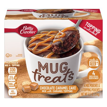 (3 Pack) Betty Crocker Chocolate Caramel Cake Mug Treats, 4 Pouches 12.5oz Box