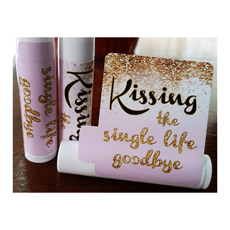 12 Bridal Shower Lip Balms - Bachelorette Party Favors - Kissing the Single Life Goodbye - Gold Glitter Bridal