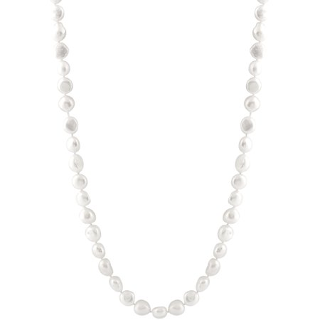 """Handpicked A Quality 10-11mm White Coin Freshwater Cultured Pearl Strand Endless 46"""" Necklace"""