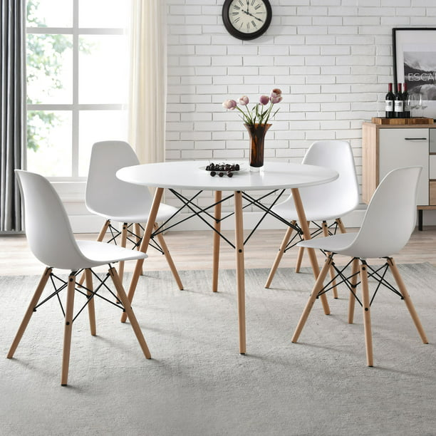 Mainstays Mid Century Modern Dining, White Dining Room Chairs With Arms