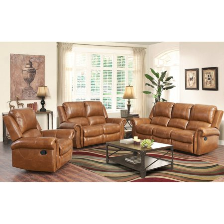 Abbyson Hayley Cognac 3-Piece Leather Sofa Set