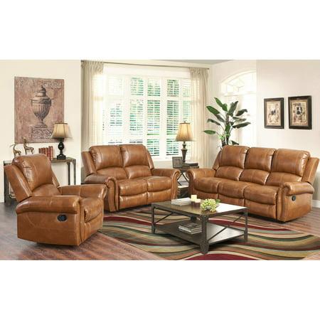 Cognac Leather Sofa Set Mid Century Design Modular