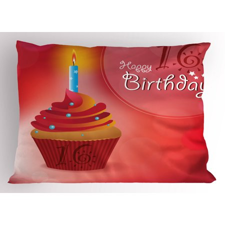 16th Birthday Pillow Sham Little Cupcake with Candlestick Greeting Message Romantic Print, Decorative Standard Queen Size Printed Pillowcase, 30 X 20 Inches, Red Orange and Blue, by Ambesonne - Cupcake Queen