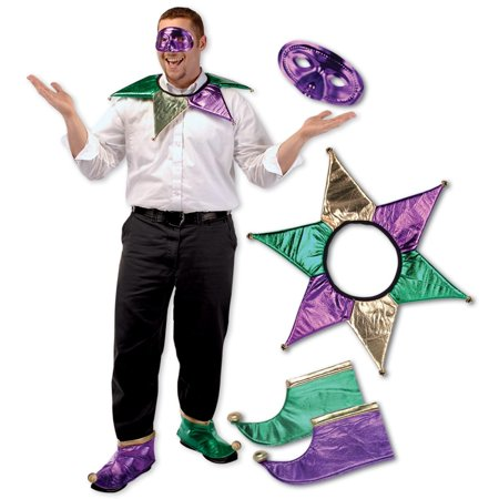Pack of 6 Festive Gold, Green and Purple Mardi Gras Jester Costume Accessory Sets - One Size - Mardigra Costume
