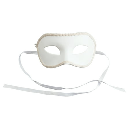 Loftus Adult Solid Masquerade Halloween Costume Half Mask, White, One-Size (7