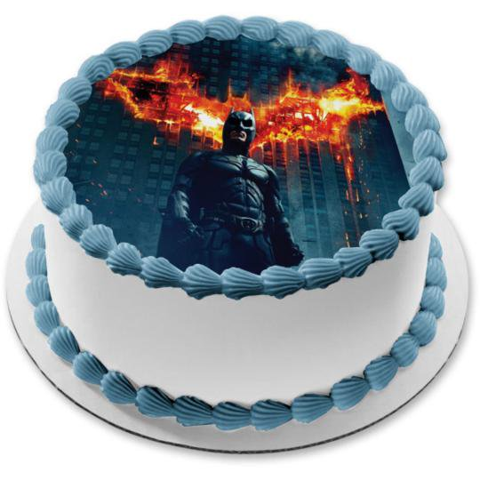Phenomenal Batman Dark Knight Burning Building Background Edible Cake Topper Personalised Birthday Cards Paralily Jamesorg