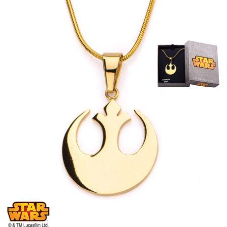 Disney Stainless Steel Rebel Alliance Gold IP Small Pendant, 20