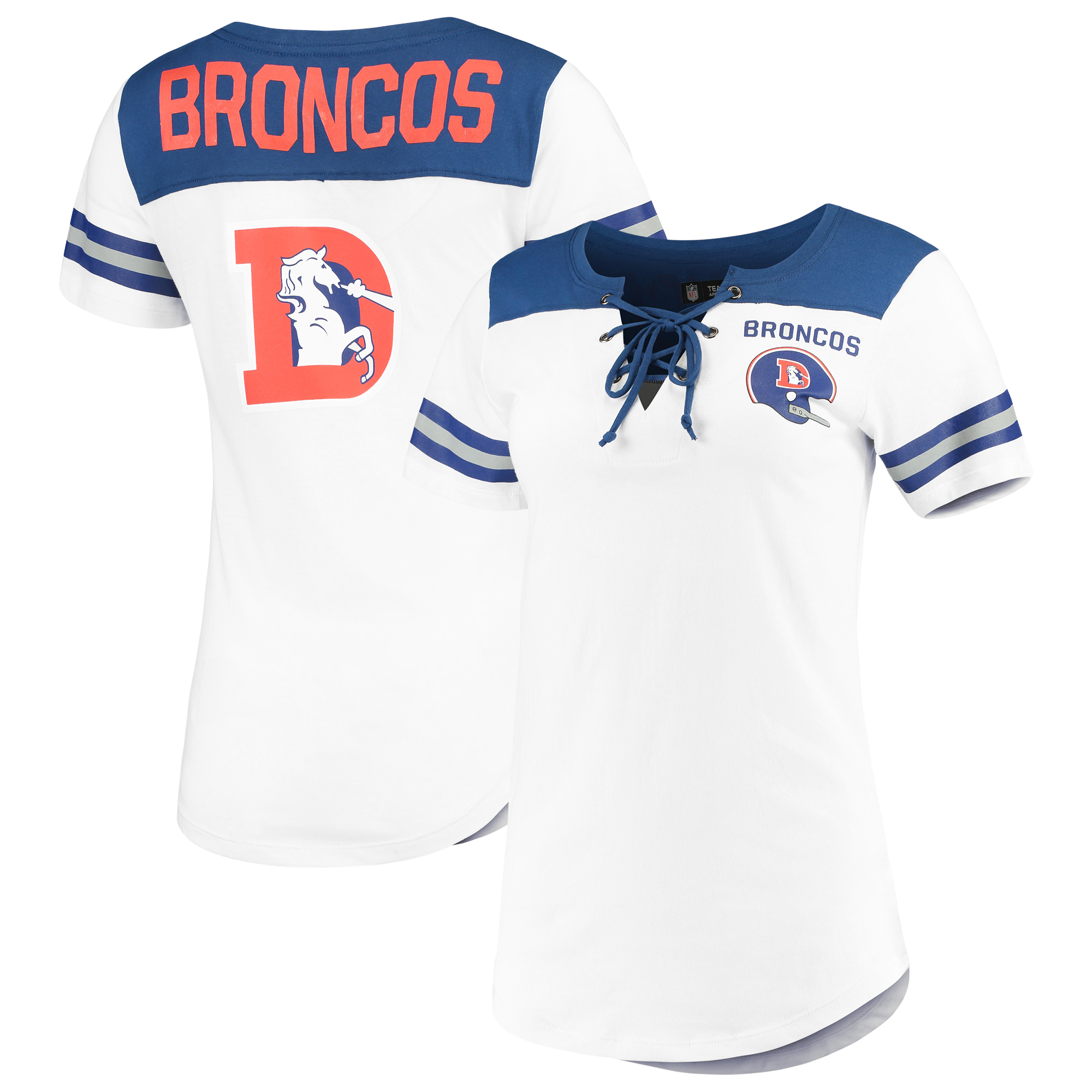 Denver Broncos New Era Women's Athletic Throwback Lace-Up T-Shirt - White/Royal - XL