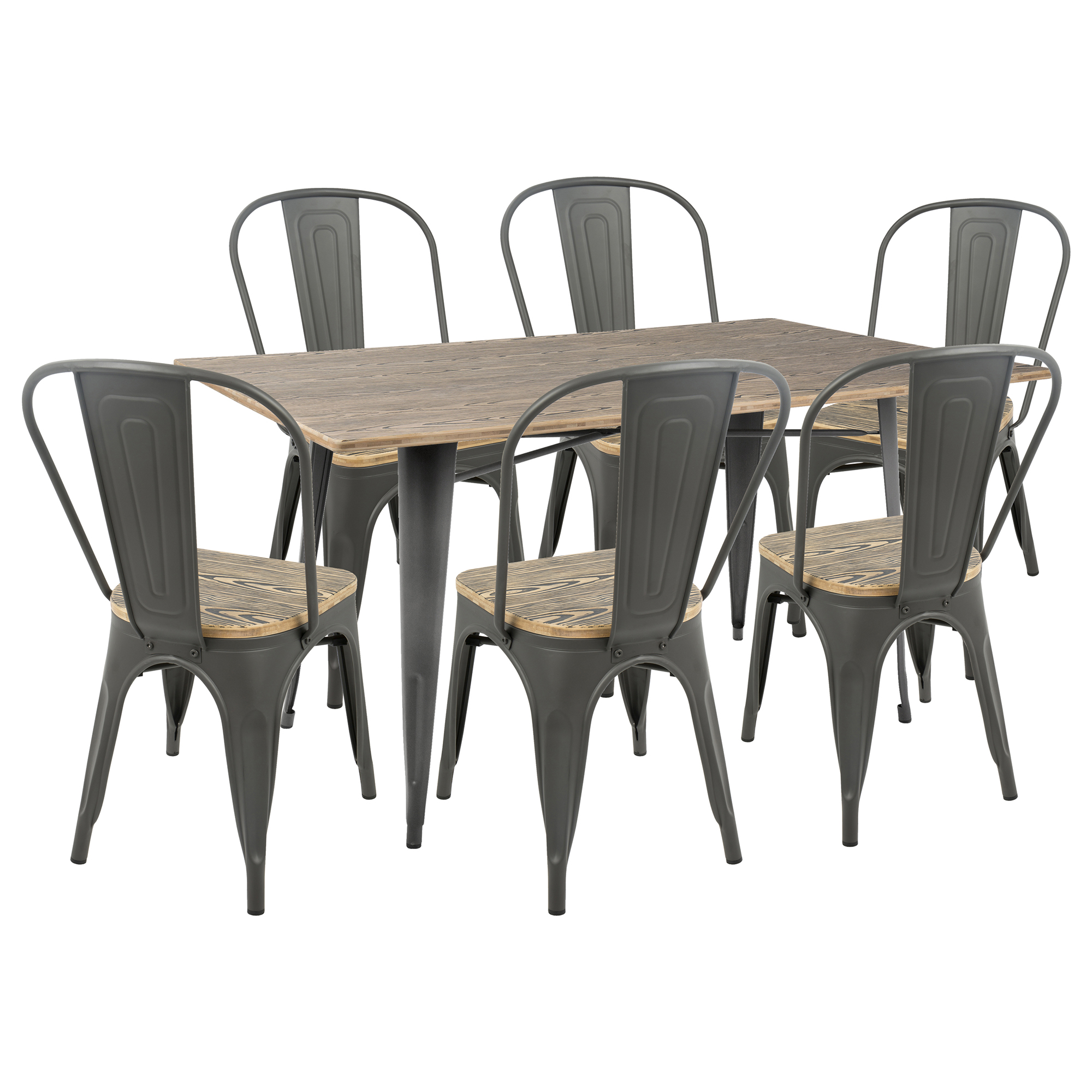 Attirant Oregon 7 Piece Industrial Farmhouse Dining Set In Grey And Brown By  LumiSource