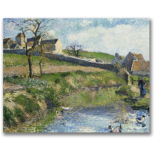 "Trademark Fine Art ""The Farm at Osny"" Canvas Wall Art by Camille Pissaro"