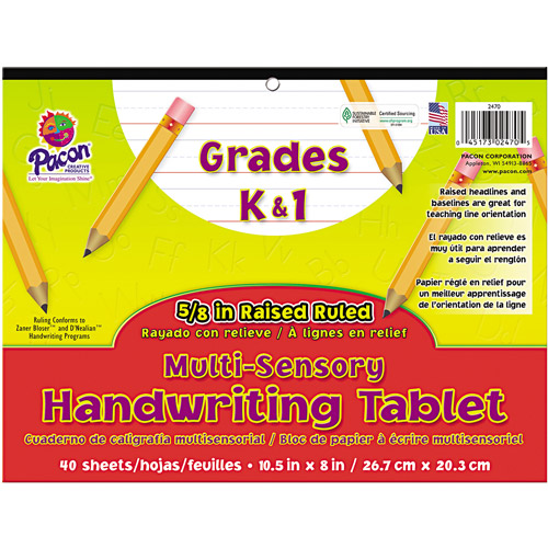 Pacon Multi-Sensory Handwriting Tablet, 10-1/2 x 8, 40 Sheets/Pad