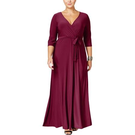 Love Squared Womens Plus Surplice V-Neck Maxi Dress