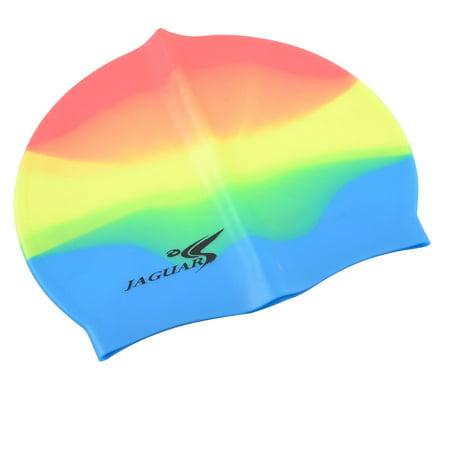 5b06919ca52 Unique Bargains Mixed-color Water Sports Silicone Swimming Cap for Long Hair  Women Men - Walmart.com