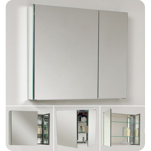 "Fresca FMC8090 30"" Double Door Frameless Medicine Cabinet with Two Glass Shelves and... by Fresca"
