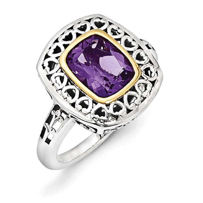Roy Rose Jewelry Sterling Silver and 14K Gold Antiqued Amethyst Ring ~ Size 8 by