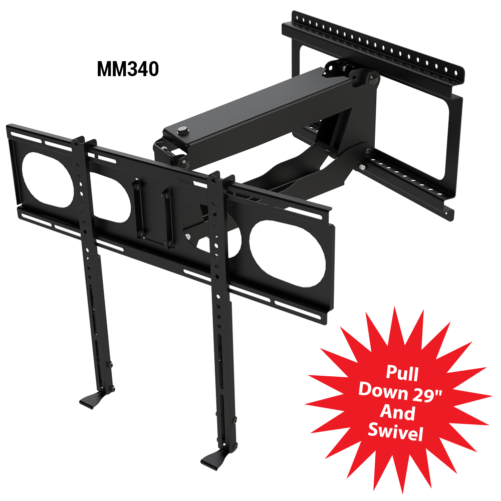 "MantelMount MM340 Pull Down Fireplace TV Mount For 44""-80"" TVs Above Mantel"
