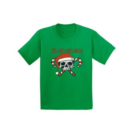 Awkward Styles Yo Ho Ho Ho Christmas Shirts for Kids Girls Christmas Boy Christmas Skull and Crossbones Candy Canes Santa Kids Christmas Tshirt Funny Kid's Christmas Holiday Shirt Youth Christmas Tee](Candy Cane Top)
