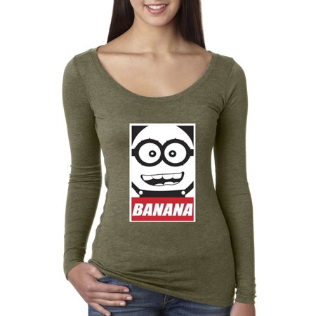 New Way 630 - Women's Long Sleeve T-Shirt Minions Banana Bob](Purple Bob)
