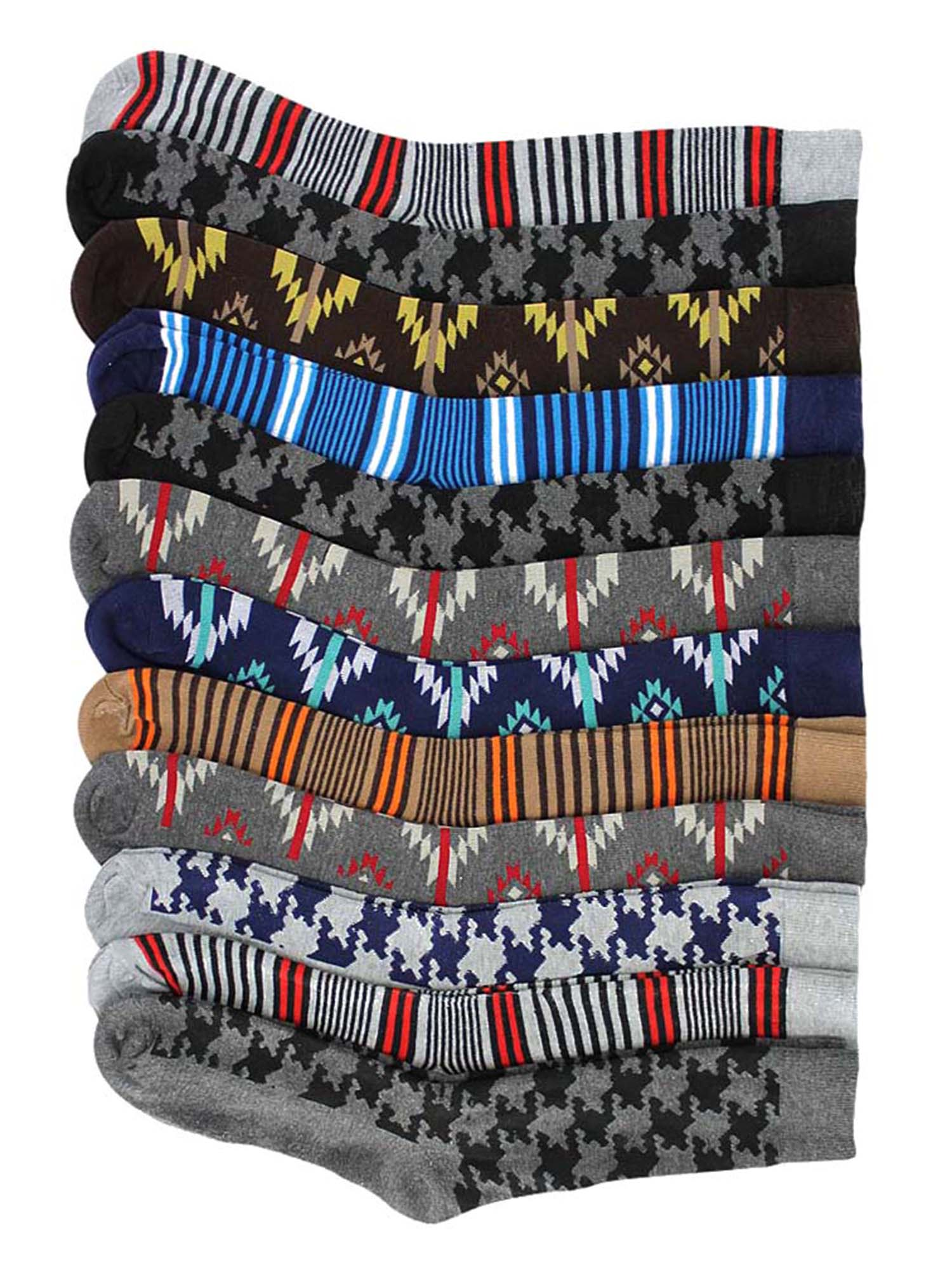 Mens Houndstooth Striped & Aztec 12 Pack Dress Socks