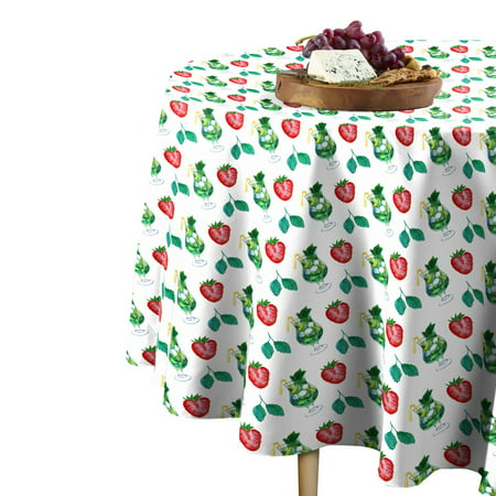 Fabric Textile Products Large Strawberry Mojito Tablecloth 90