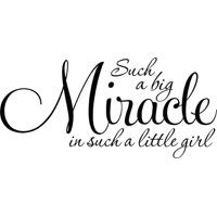 Custom Wall Decal Such A Big Miracle Is Such A Little Girl Baby Bedroom Nursery Decor Picture Art - Vinyl Wall Decal 12x24