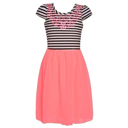 Mini Moca Big Girls Neon Pink Floral Embroidery Striped Easter Dress