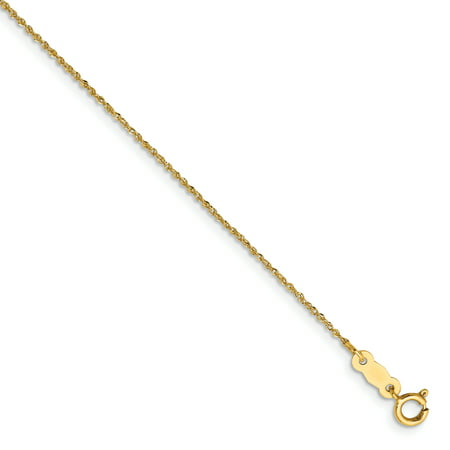 14k Yellow Gold .70mm Ropa Necklace Pendant Charm Chain Rope For Women Gift (Chain Set Pendant)