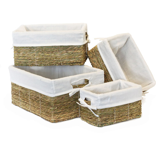 Baum Lined Binded Rice Storage Baskets, Set of 4, Natural