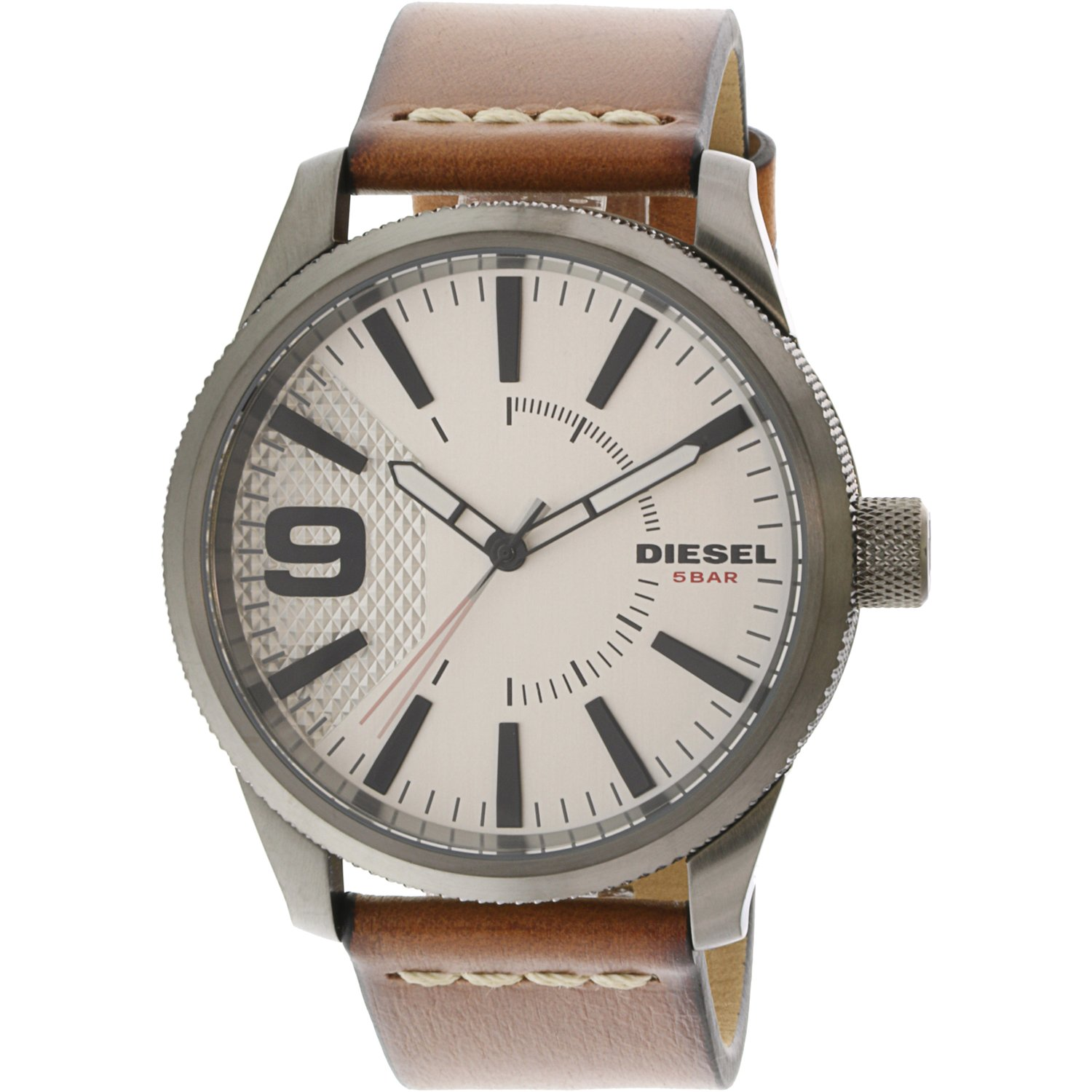 Diesel Men's Rasp DZ1803 Silver Leather Japanese Quartz Fashion Watch
