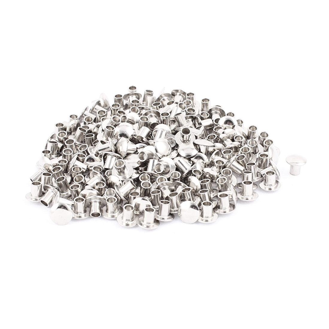 """200 Pcs 13/64"""" x 1/4"""" Nickel Plated Oval Head Semi-Tubular Rivets Silver Tone"""