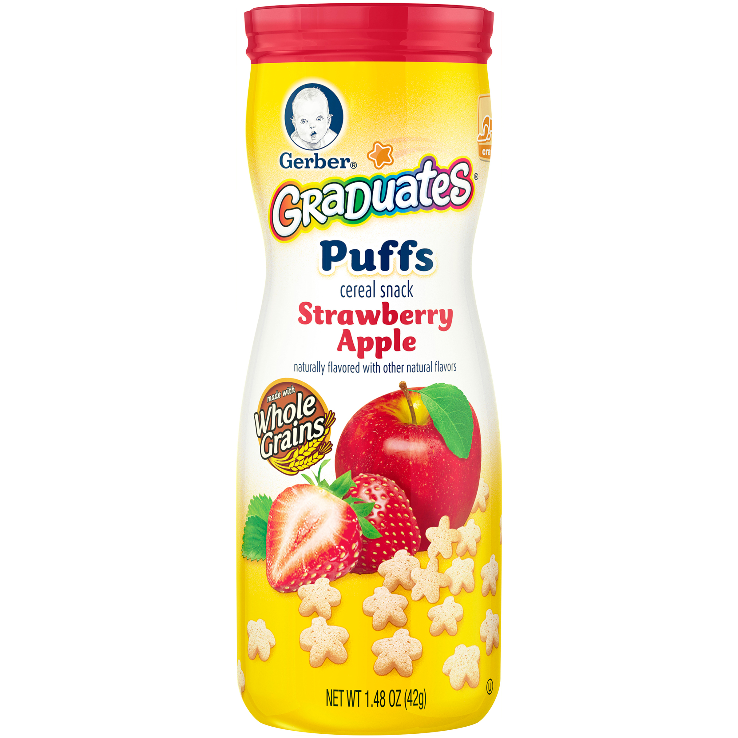 Gerber Graduates Puffs Strawberry Apple Cereal Snack Crawler 1.48oz