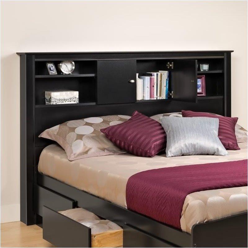 Pemberly Row Full Queen Bookcase Headboard in Black Finish
