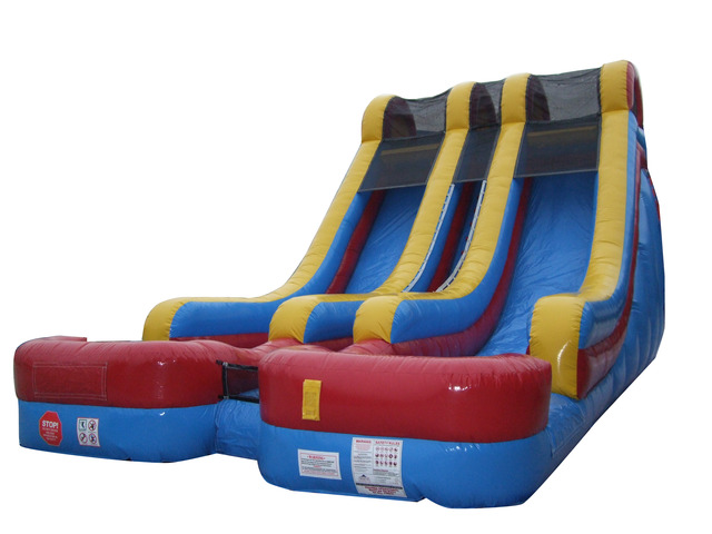 Click here to buy Pogo 18' Red, Yellow, Blue Commercial Inflatable Double Lane Wet or Dry Waterslide by Pogo Bounce House.