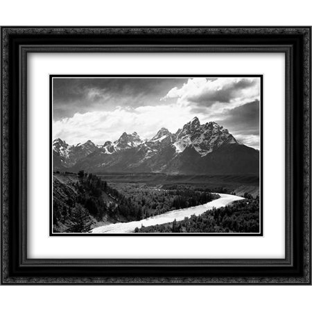 View from river valley towards snow covered mountains, river in foreground, Grand Teton National Par 2x Matted 24x20 Black Ornate Framed Art Print by Adams,