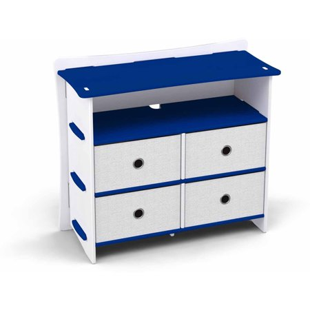 Legare Kids Furniture Race Car Series Collection 4 Drawer Dresser  Blue And White