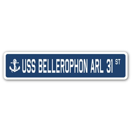Uss Bellerophon Arl 31 Street Sign Us Navy Ship Veteran Sailor Gift