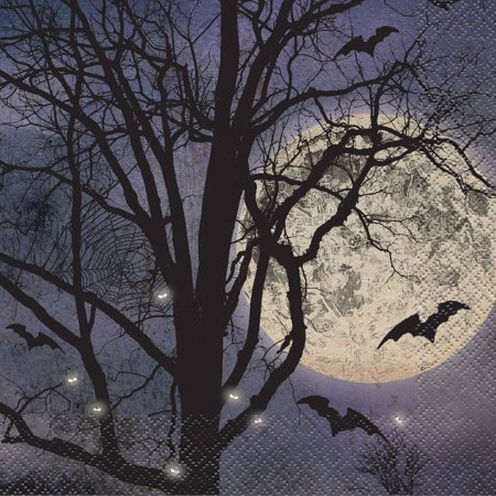 Spooky Night Halloween Party Napkins, 6.5 in, - Plan B Halloween Party