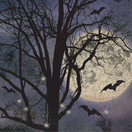 Spooky Night Halloween Party Napkins, 6.5 in, 16ct - Spooky Halloween Menu Dinner