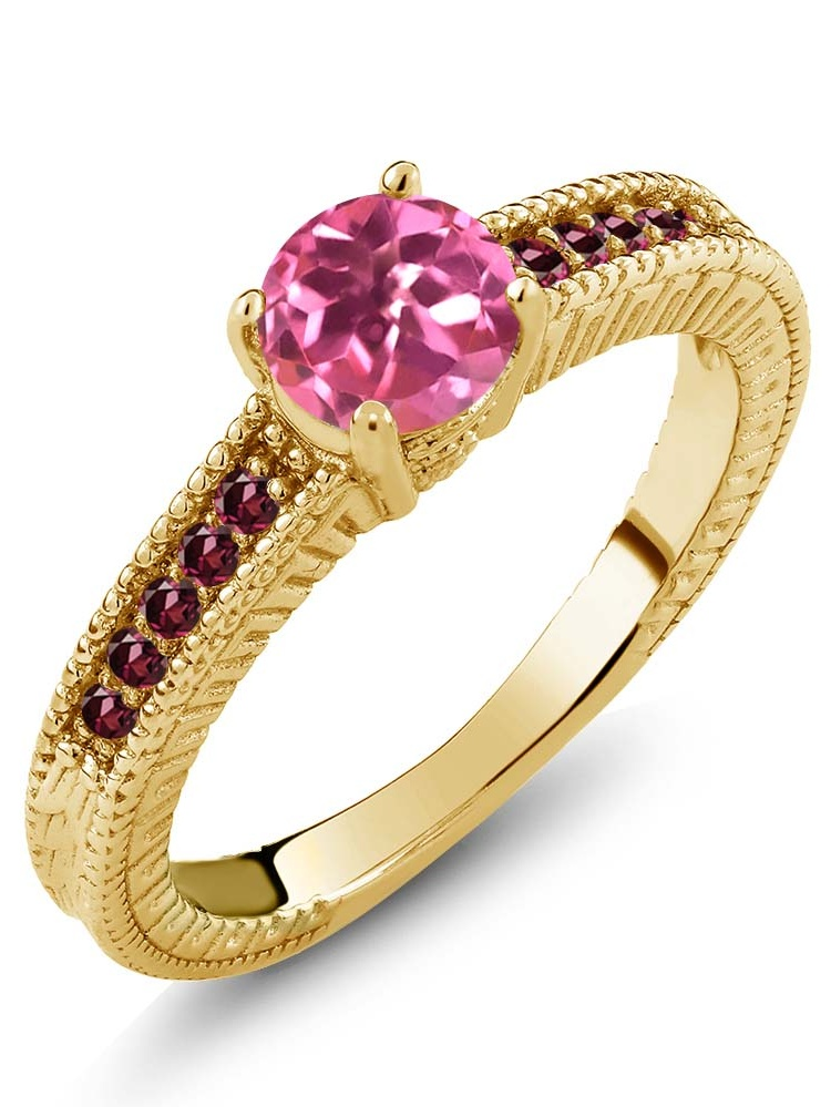 1.25 Ct Round Pink Mystic Topaz Red Rhodolite Garnet 18K Yellow Gold Ring by