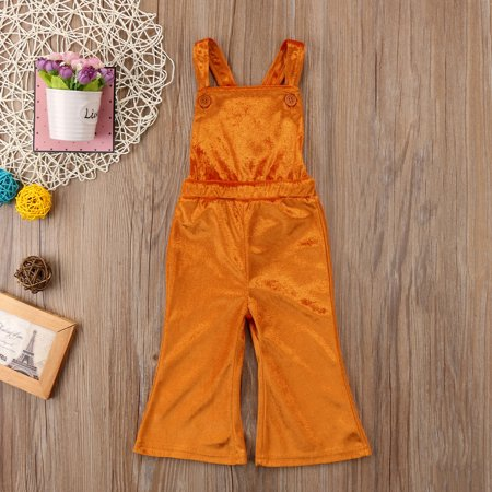 Toddler Baby Girls Kids Strap Velvet Jumpsuit One Piece Flare Bell Bottoms Pants