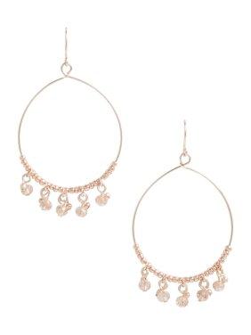 Gold Beaded Stone Hoop Earrings
