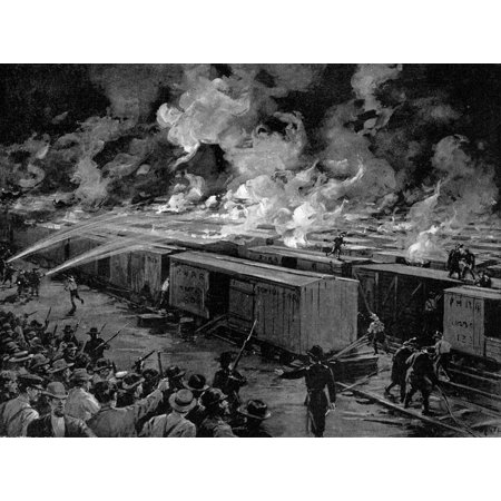 Pullman Strike 1894 Nsix Hundred Freight Cars At The Panhandle Yards Chicago Set Afire By Rioting Workers During The Pullman Strike On The Evening Of July 6 1894 Illustration From A Contemporary Ameri