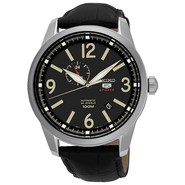Seiko Men's 5 Sports 45mm Black Leather Band Steel Case H...