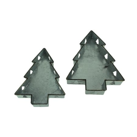 Set of 2 Nesting Galvanized Zinc Finished Metal Christmas Tree Trays