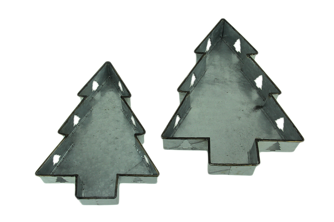 Nesting Galvanized Metal Zinc Finished Christmas Tree Trays - discover holiday metal decor pieces as well as lovely rustic modern farmhouse decor!