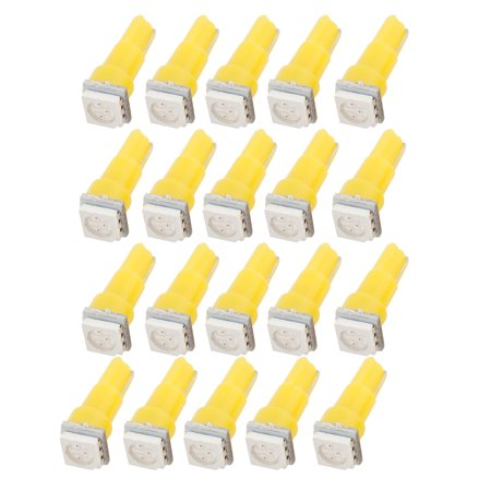 20 Pcs DC 12V Car T5 Wedge 5050 SMD LED Dashboard Lights Lamps Yellow interior - image 1 of 1