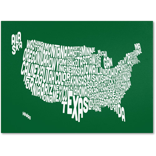 Trademark Art 'FOREST-USA States Text Map' Canvas Art by Michael Tompsett