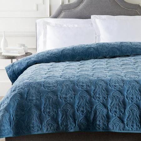 Denim Blue Infinite Indian Floral Paradise Patterned Cotton Full/Queen Quilt