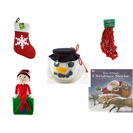 Large Footed Glasses - Christmas Fun Gift Bundle [5 Piece] - Be Jolly Sparkle Stocking 19