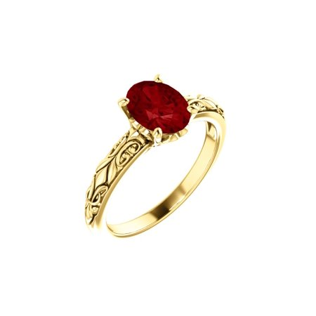 14k Yellow Gold Gem Quality Chatham® Created Oval Ruby Solitaire